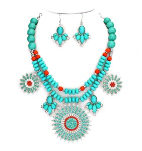 Chunky Boho Tribal Turquoise Coral Crystal Accent Collar Bib Pendant Necklace Earring Set