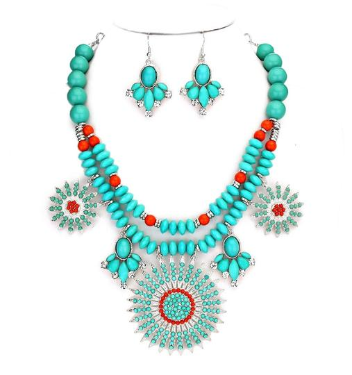 Preload https://item1.tradesy.com/images/chunky-boho-tribal-turquoise-coral-crystal-accent-collar-bib-pendant-earring-set-necklace-1971245-0-0.jpg?width=440&height=440