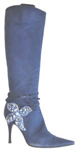 Sergio Rossi Pointy Toe Crystal Aplique Suede Size 39.5 Blue Boots