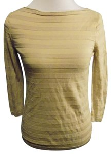 Ann Taylor LOFT Casual Stretchy 3/4 Sleeve Top Brown and Beige