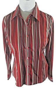 East 5th Essentials Stretchy Longsleeve Career Striped Top Red, Black and White