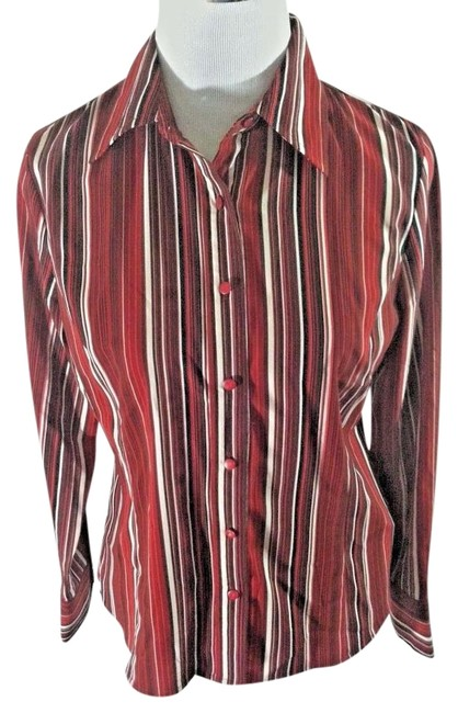 Item - Red Black and White Stretchy Knit Long Sleeve Classic Career Blouse Size 6 (S)
