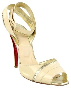 Christian Louboutin Patent Leather Gold ivory gold Sandals