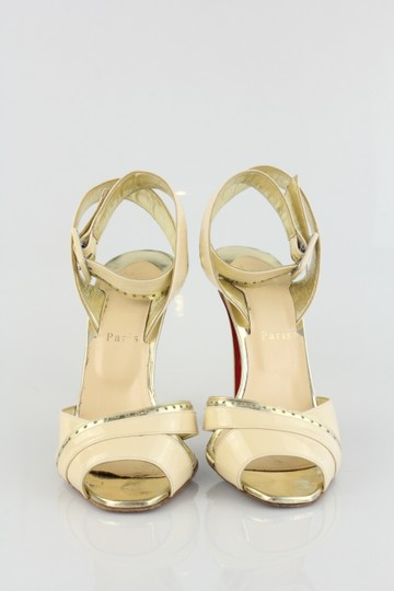 Christian Louboutin Patent Leather ivory gold Sandals