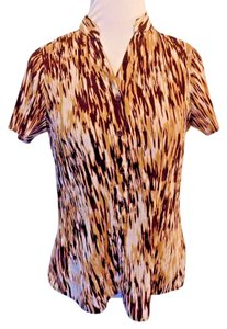 Fred David Stretchy Career Striped Top Brown and beige