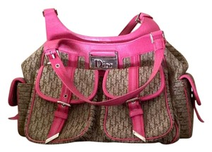 Dior Vintage Satchel in Hot pink and monogram canvas