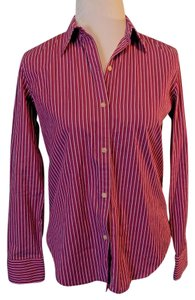 Lauren Ralph Lauren Striped Casual Cotton Button Down Shirt Purple, Black and White