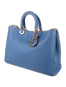 Dior Diorissimo Italian Leather Monogram Tote in Blue