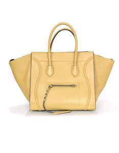 Céline Blue Celine Leather Tote in Taupe