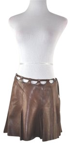 Roberto Cavalli Mini Flute Leather Cut Outs Mini Skirt Brown