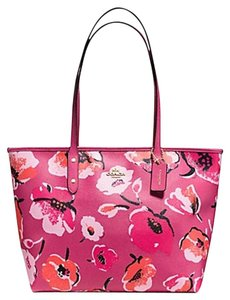 Coach Zip Top Leather Floral Tote in pink
