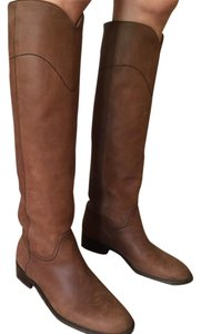 Chanel Leather Knee High Brown Boots