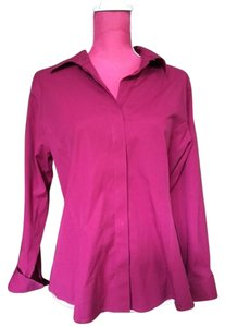 Talbots Wrinkle Resistant Button Down Hidden Buttons Top Pink