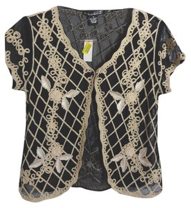 Lauren Michelle Black Special Occasion Sheer Gold Braid Top black/gold braid