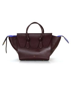 Céline Leather Luggage Suede Tote in Wine