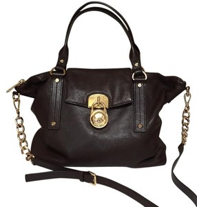 MICHAEL Michael Kors Leather Satchel in Dark brown