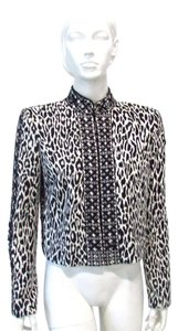 Marchesa Voyage Lace Up Animal Print White Jacket