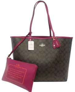 Coach Tote in Brown, Black, Fuchsia, Gold