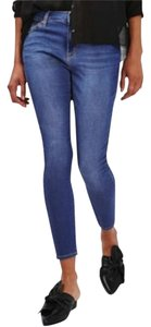 Topshop Cropped Skinny High Waisted Moto Stretchy Skinny Jeans-Medium Wash