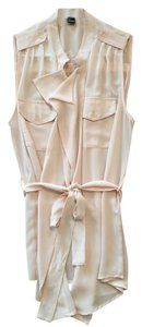 Forever 21 Sleeveless Blouse Pink Belted Blouse Top pale pink