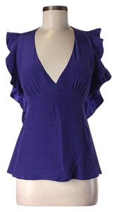 BCBGMAXAZRIA Silk Ruffle Scoop Back Top Deep Purple