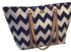 Kate Spade Tote in Blue/white Tan Handles