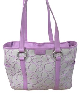 Tumi Signature Leather Canvas Tote in lilac