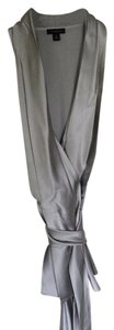 Ann Taylor Silk Wrap Top Silver