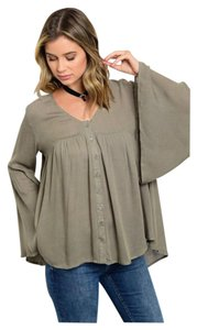 Other Swing Oversized Bohemian Top Olive