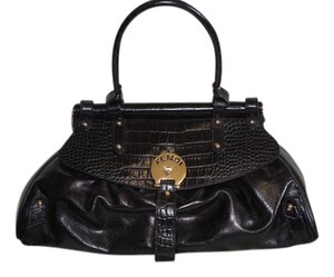 Fendi Leather Crocodile Studded Shoulder Bag