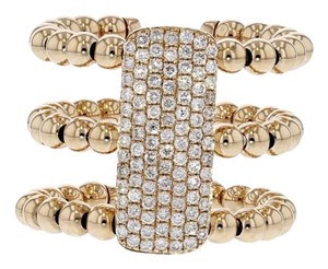Other .63ct Pave Diamond 14k Rose Gold Three Band Ribbed Ring 7 G-h Si1-si2