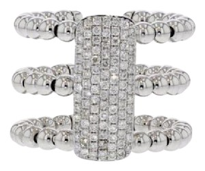 Other .63ct Pave Diamond 14k White Gold Three Band Ribbed Ring 7 G-h Si1-si2