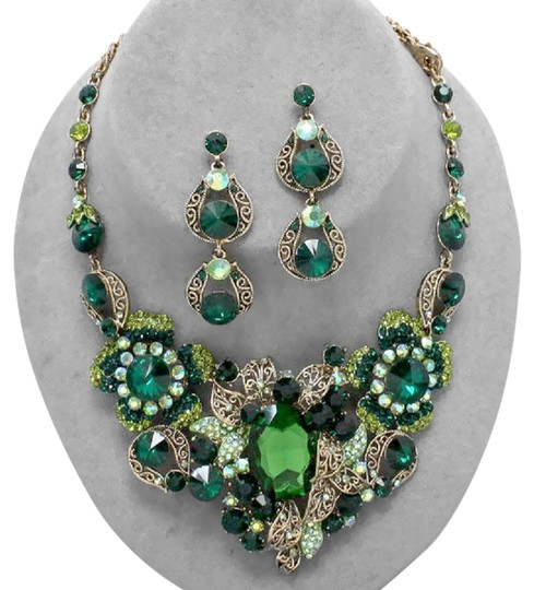 Other Emerald Green Gold Accent Crystal Flora Bib Collar Necklace Earring Set