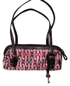 Fossil Satchel in Pink, black, teal, green