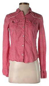 Free People Gingham Button Down Shirt Red