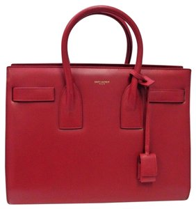 Saint Laurent Leather Sac De Jour Satchel in Lipstick red