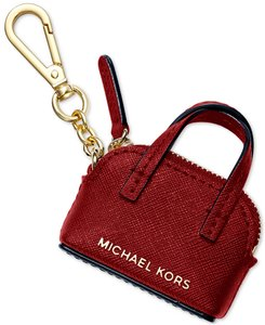 Michael Kors BOXED Michael Kor leather mini Bag charms Key chain coin purse Red