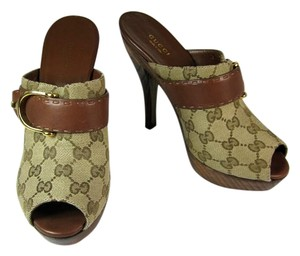 Gucci Beige Gg Leather Heels Mules