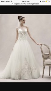 Oleg Cassini Oleg Cassini One Shoulder Tulle Ball Gown With Lace Appliques Style Ckp421 Veil And Garter Included Wedding Dress