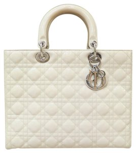 Dior Patent Large Lady Tote in Taupe