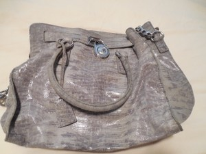 Michael Kors Leather Gray Silver Satchel in Gray/Lavender