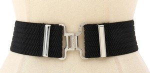Ralph Lauren New! Lauren Ralph Lauren Stretch Woven Wide Waist Belt Black -XL- Interlock Closure
