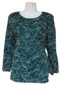 JM Collection Longsleeve Lace Scoop Top green, gold