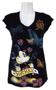 Disney Cotton V-neck Juniors T Shirt black