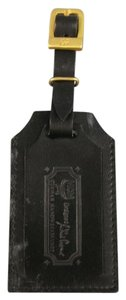 MCM MCM Black & Gold Engraved Leather Luggage Tag