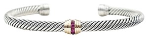 David Yurman David Yurman Silver 925 14k Gold 5mm Cable Ruby Cuff Bracelet