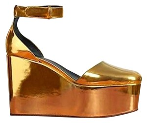 Cline Metallic Wedges Gold Platforms