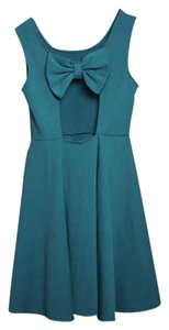 Ya Los Angeles short dress Forest Green Cut-out Bow A-line on Tradesy