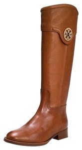 Tory Burch Tall Riding Logo Almond Brown Boots