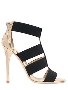 Jimmy Choo Open Toe Strappy Black and Gold Sandals